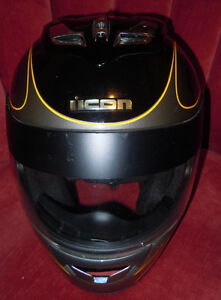 Icon Mainframe Halo Helmet in Black with Gray & Yellow MED