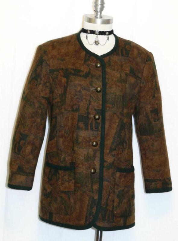"WOOL Winter Riding Jacket Women German SHORT SLEEVES Walk Jacket B41"" / 38 10 M"