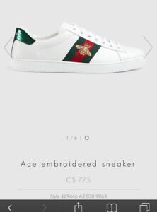Gucci white and red authentic  embroidered sneakers