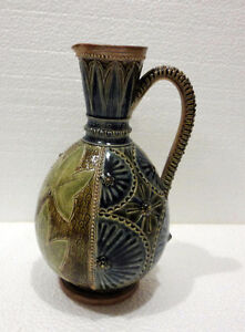 Antique collectible Doulton Lambeth pottery pot 1876