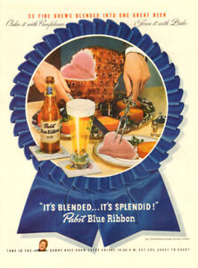 1946  authentic full-page magazine ad for Pabst Blue Ribbon Beer