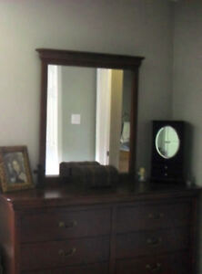Solid wood bed base with headboard, dresser, mirror, nightstand
