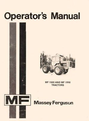 Massey Ferguson Mf 1500 Mf 1800 Owners Operators Manual