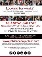 FREE: Kelowna Job Fair - Monday, 27 November, 2017