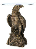Eagle Statue Accent End Table Glass Top Golden Detail Brand New