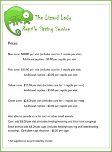 Reptile Sitting Services