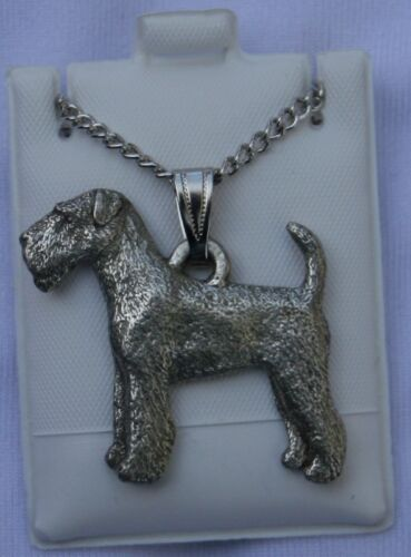 Airedale Terrier Dog Harris Fine Pewter Pendant w Chain Necklace USA Made