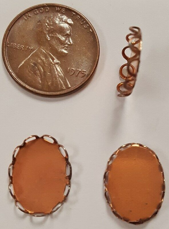 12 VINTAGE FILIGREE 14x10mm. OVAL SETTING COPPER COATED SETTING FINDINGS N69