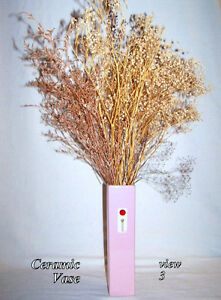 Pink rectangular CERAMIC VASE WITH DRIED FLOWERS