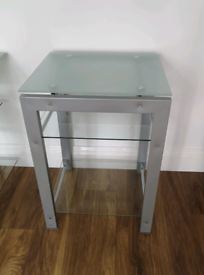 Side table brushed chrome/glass free of rust