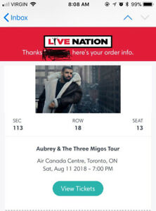 Drake and Migos concert ticket for August 11, 2018