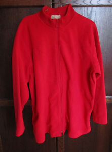 Ladies plus size red fleece zip up sweater, size 2X
