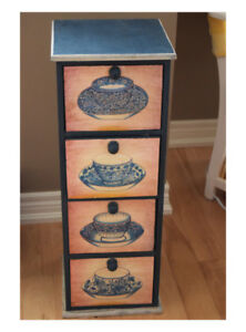 4 drawer cabinet, tea cup painted 27 inches tall