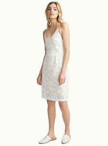Icone Lace Up Back Applique Flower Dress (White, Size Small)