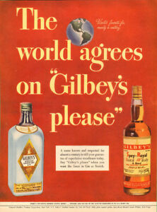 1947 Full page (10 ¼ x 14) color magazine ad for Gilbey's Gin