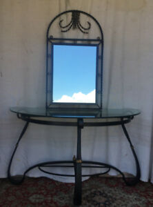 A unique Console Table/Mirror, wrought iron (black and gold)