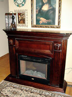 SOLID MAHOGANY WOOD MANTLE w/ REMOTE ELECTRIC FIREPLACE HEATER