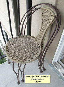 2 Wrought Iron Cafe Chairs - stacking