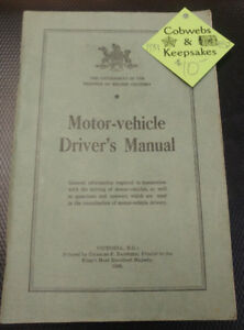 1939 Government of BC Motor Vehicle Driver Manual