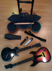 Xbox 360 guitars, mics and drums