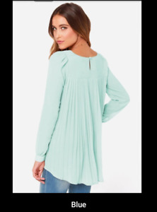 New blue pleated blouse