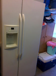 GE french door fridge with ice maker and water dispenser.