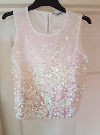 STUNNING SEQUINNED TOPS IN IRIDESCENT WHITE OR BLACK AGE 11-12 YRS (BRAND NEW WITH TAGS)