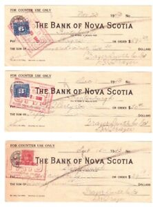 5 chèques anciens de 1943 : Bank of Nova Scotia .