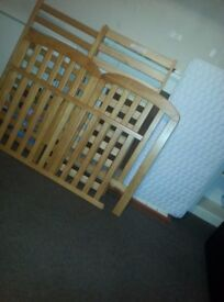 Baby Weavers Oak Cot Bed With Mattress