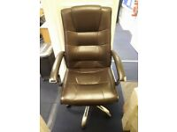 2 x adjustable height. executive office chairs. 1 cream. 1 brown. Pics inc. £20 for both.