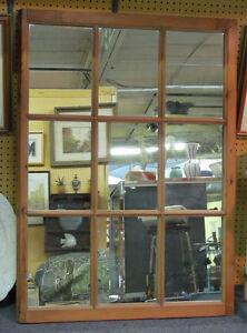 Fenêtre Antique en Pin avec Miroir