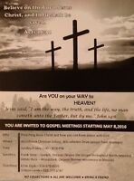 You Are Invited to Gospel Meetings Starting May 8,  2016