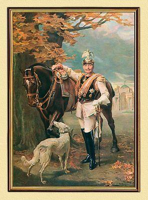 KAISER WILHELM II. 1911 REITER HUND UNIFORM PFERD AUF LEINWAND 3 im Goldrahmen