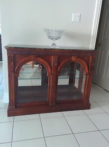 Side Board Server - Solid mahogany and marble counter top