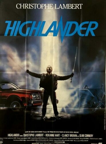 Christophe Lambert Sean Connery HIGHLANDER R Mulcahy 1986 FRENCH POSTER 47x63