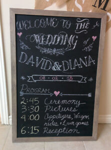 Rustic Wedding Decor: mason jars, burlap, chalkboard signs etc.