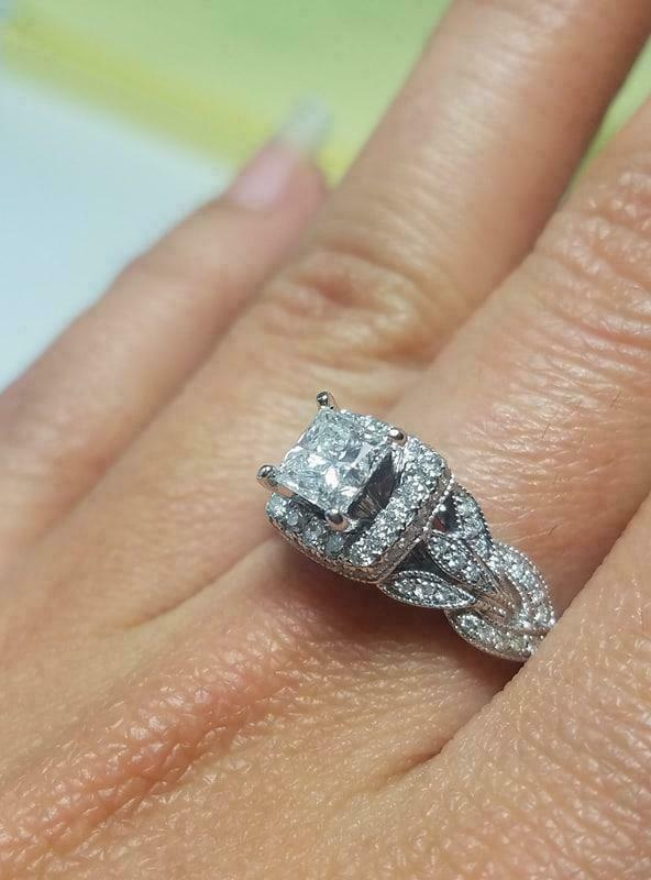 Engagement Wedding For Women Ring 2 Ct Princess Cut Diamond 14K White Gold Over