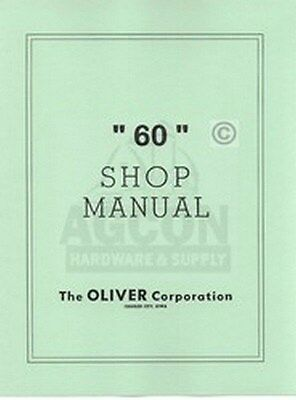Oliver 60 Row Crop Standard Shop Dealer Service Manual