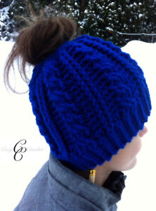 Cable messy bun hats