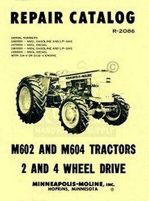 Minneapolis Moline M602 M604 M-602 Parts Manual Catalog