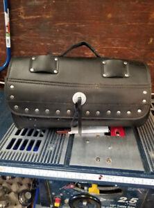 Black leather MotorCycle side bag