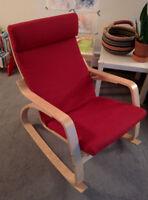 IKEA POÄNG Rocking chair, birch veneer, Ransta red