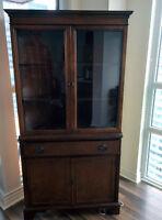 Knechtel Mahogany Wooden Antique China Cabinet Corner Unit