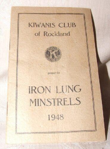 1948 Booklet Kiwanis Club Rockland MA IRON LUNG MINSTRALS Polio Benefit Tedeschi