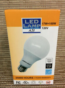 LED New A21 Dimmable Frosted 3000K 17W 1600 Lumen 25000 Hours