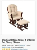 New Storkcraft glider and ottoman (cherry and beige)