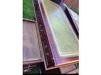 Mahogany pedestal/ desk green leather top PRICE REDUCED QUICK SALEDC