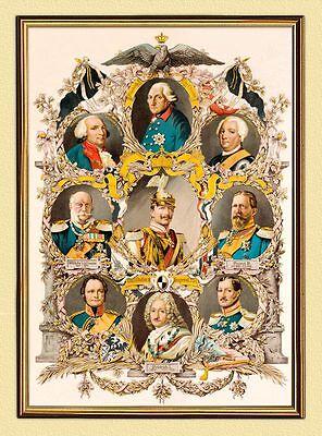 KAISER WILHELM II. Alter Fritz HOHENZOLLERN AHNENTAFEL FAKSIMILE 6 im Goldrahmen