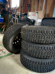 4 Firestone Snow Tires on Rims 195/65R15 From Honda Civic