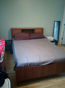 Double Foam Bed with Wooden Bedframe
